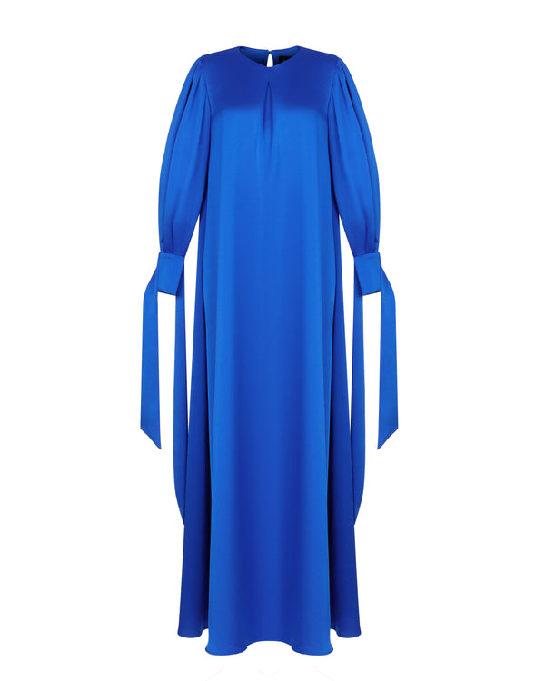 Satin gown with voluminous sleeves
