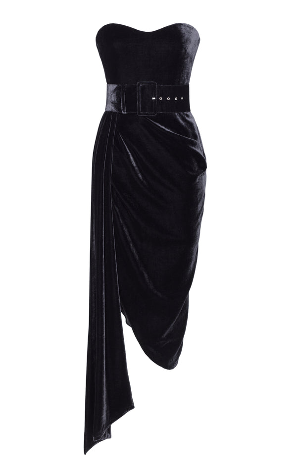 Silk Velvet Corset Midi Dress