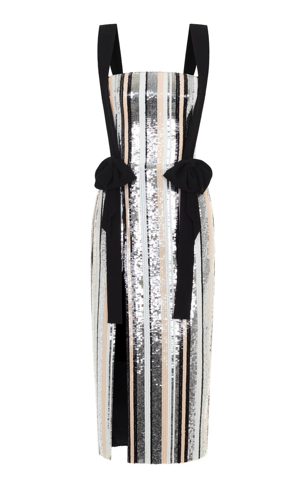 BOW-EMBELLISHED STRIPED SEQUIN AND CREPE CORSET MIDI DRESS