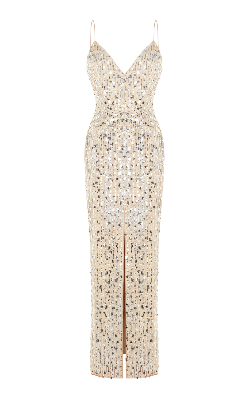 Front slit sequined maxi dress
