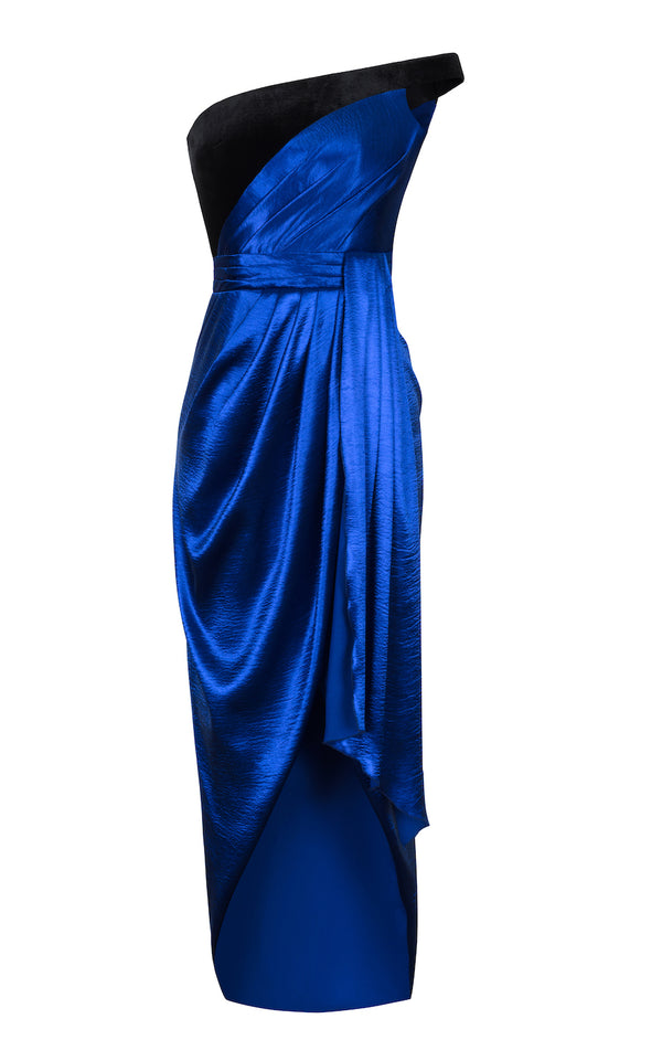 ASYMMETRIC DRAPED SATIN AND VELVET CORSET MAXI DRESS