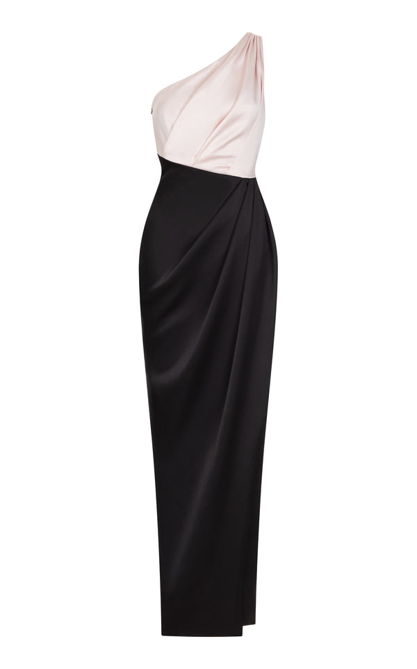 Draped satin maxi dress
