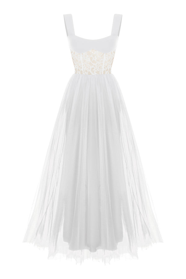 CREPE AND LACE  GOWN WITH TULLE VOLUMINOUS SKIRT