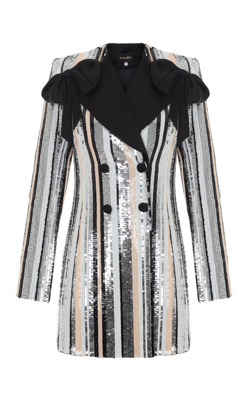 BOW-EMBELLISHED STRIPED SEQUIN AND SATIN MINI TAXEDO DRESS