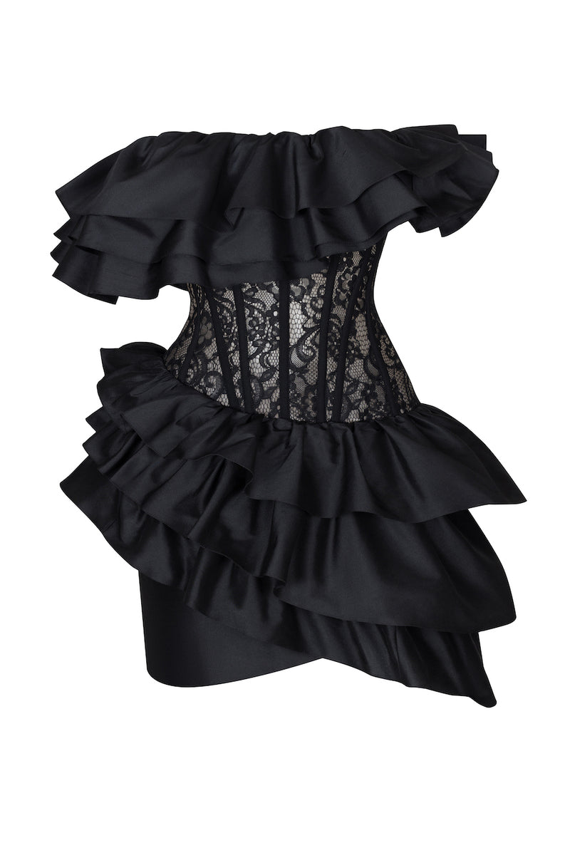 RUFFLED SILK AND LACE CORSET MINI DRESS