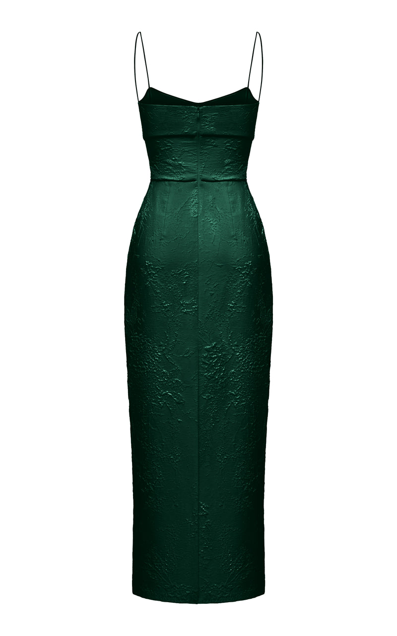 Jacquard maxi dress with piping