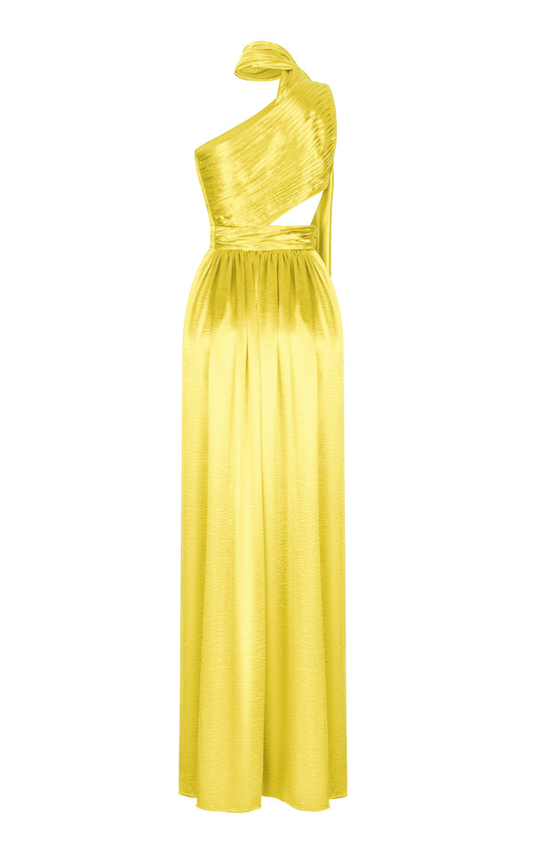 ASYMETRIC DRAPED SATIN GOWN