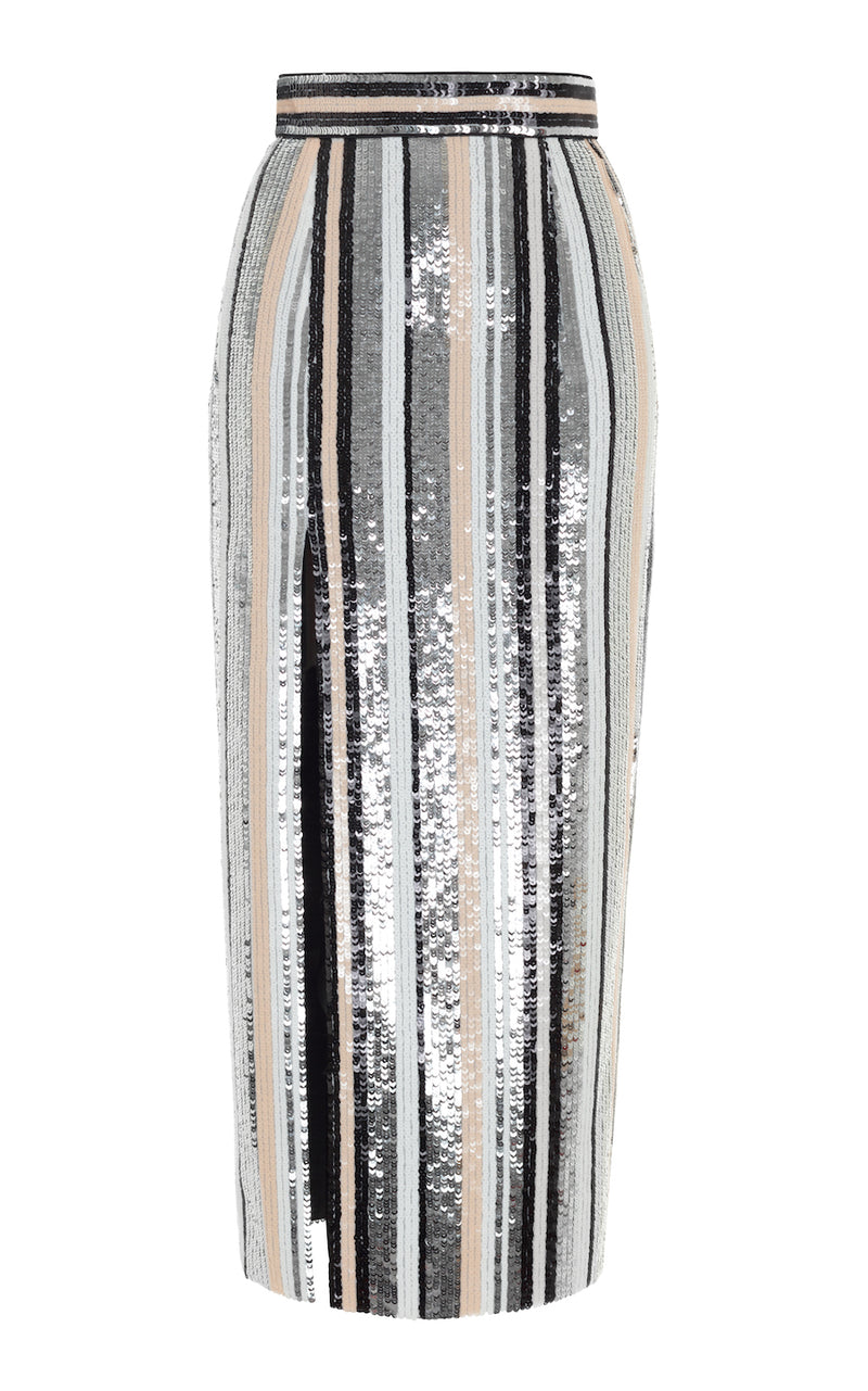 HIGH RISE FRONT SPLIT STRIPED SEQUIN MIDI SKIRT