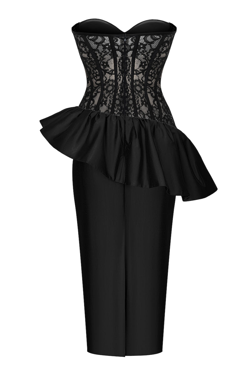 SILK AND LACE CORSET MIDI DRESS WITH RUFFLES