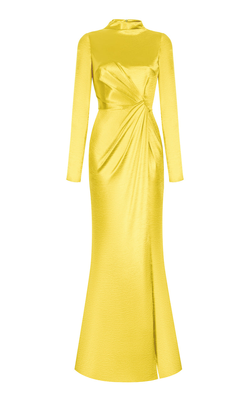 HIGH-SPLIT SIDE DRAPED MAXI DRESS