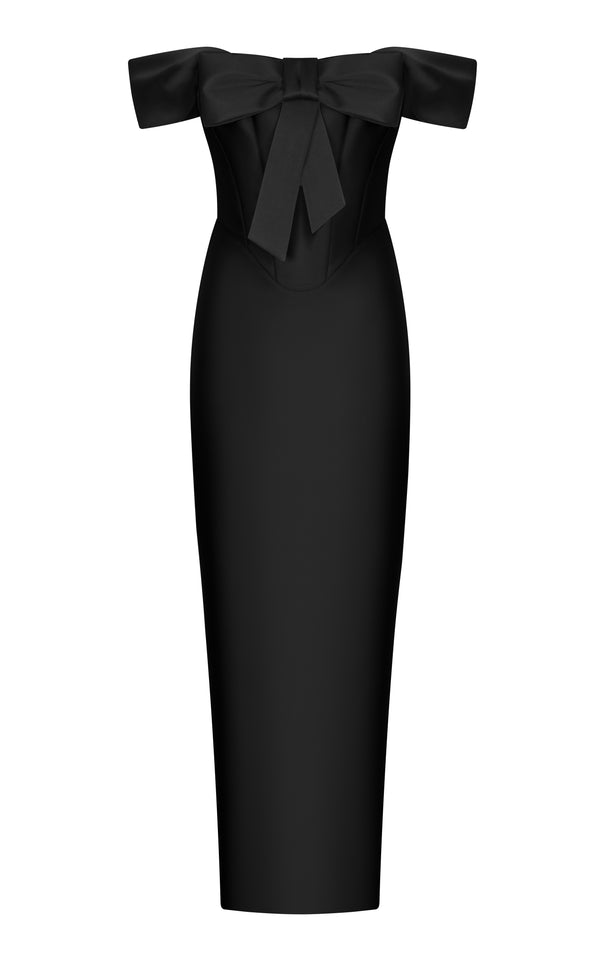 Bow-embellished satin midi dress with stitching