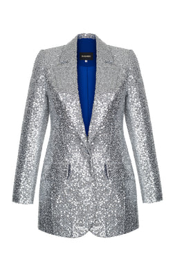 LONG SEQUINED STRETCH-JERSEY ONE-BUTTON JACKET