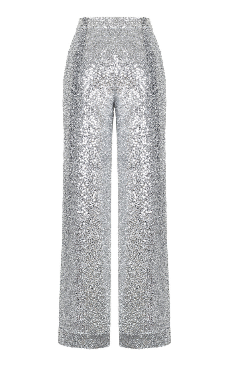 SEQUINED STRETCH-JERSEY WIDE-LEG PANTS