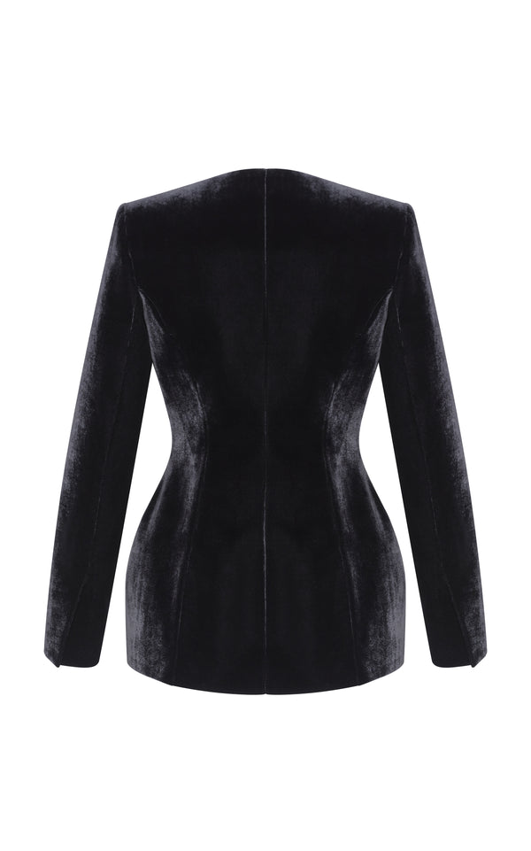 Silk Velvet Blazer with Satin  Lapels