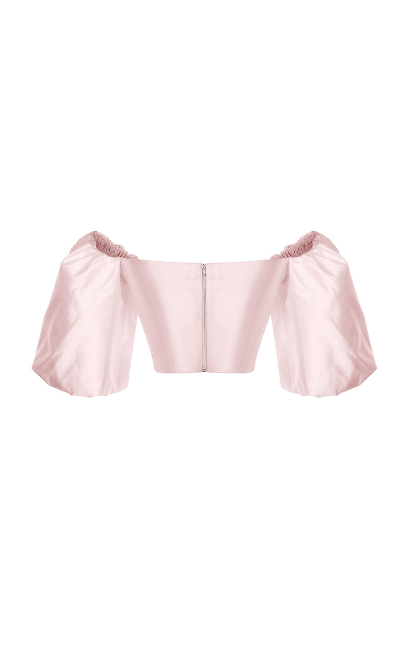 PUFF-SLEEVE WRAP-EFFECT SILK TOP