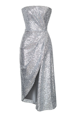 ASYMMETRIC DRAPED SEQUINED STRETCH-JERSEY CORSET MIDI DRESS