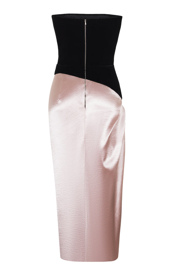 ASYMETRIC DRAPED SATIN AND VELVET CORSET MIDI DRESS