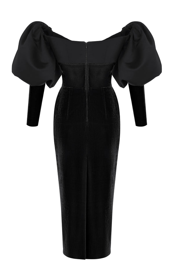 Puff Sleeve Satin and Silk Velvet Corset Midi Dress