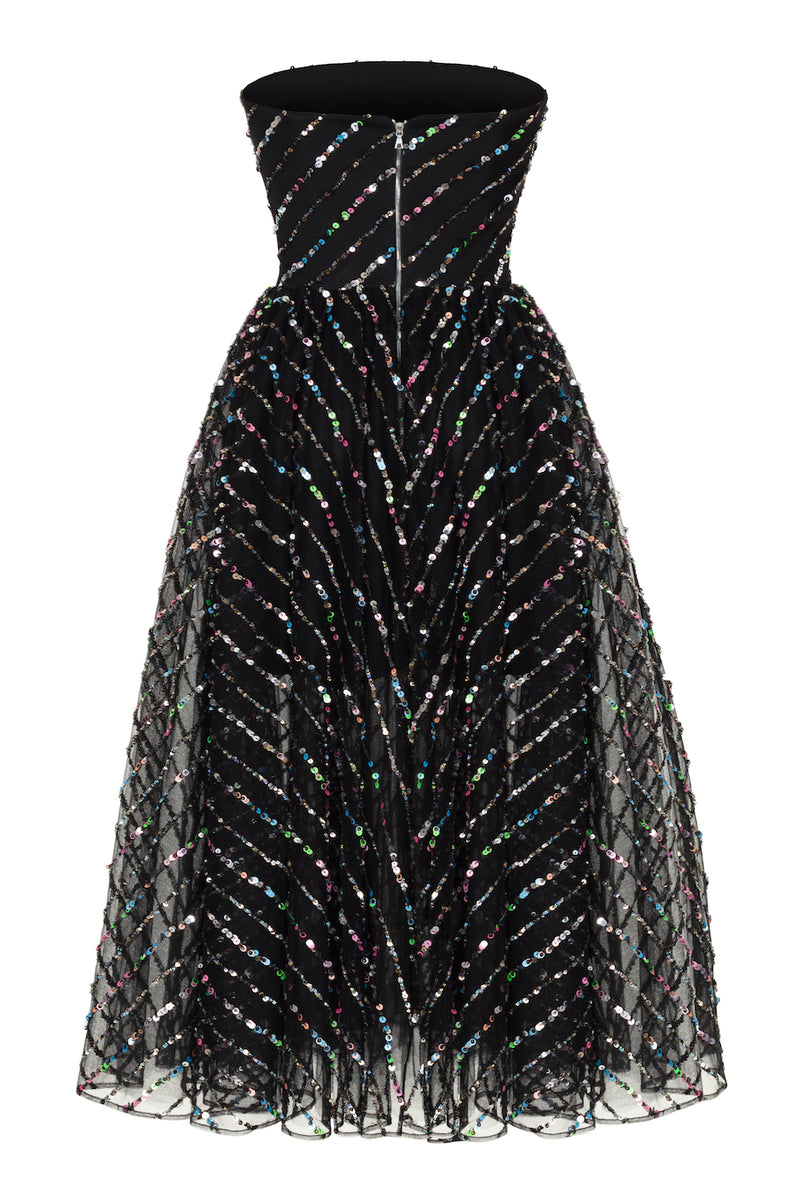 SEQUINED TULLE CORSET MIDI DRESS