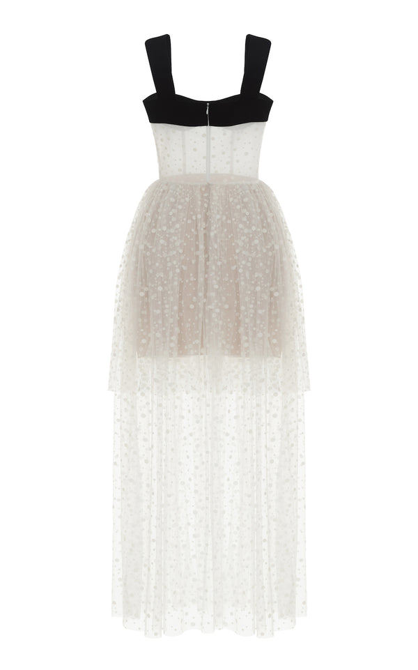 POLKA DOT TULLE MIDI DRESS WITH VOLUMINOUS SKIRT
