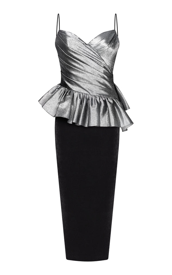 Metallic and silk velvet draped midi dress with ruffles