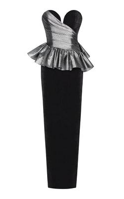 Metallic and silk velvet draped corset gown with ruffles