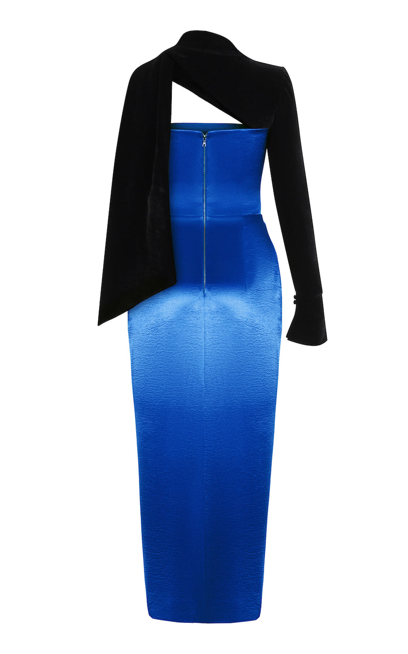 ASYMMETRIC SATIN AND VELVET CORSET MIDI DRESS