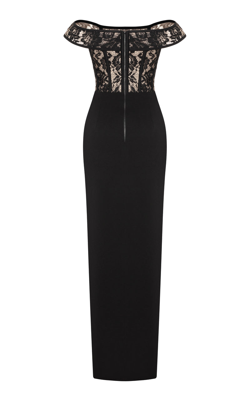 Crepe and lace corset gown with asymmetrical drapery