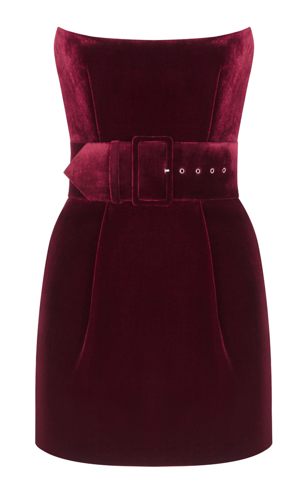 Silk Velvet Corset Mini Dress