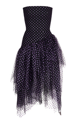 ASYMMETRIC POLKA-DOT TULLE CORSET MIDI DRESS