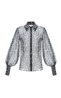 Voluminous Sleeve Leopard-Print Chiffon Blouse