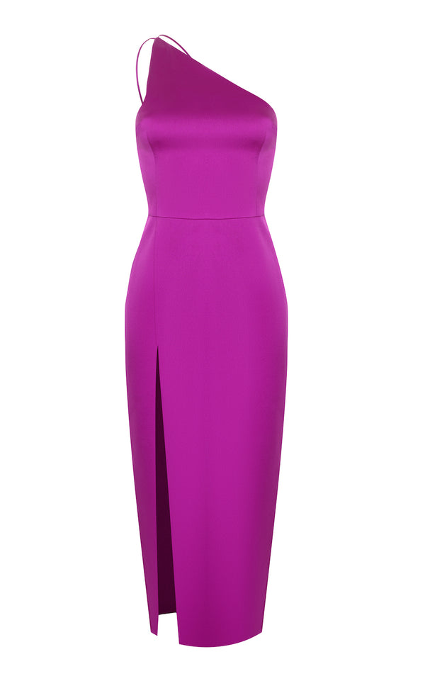 ONE SHOULDER SATIN MIDI-DRESS