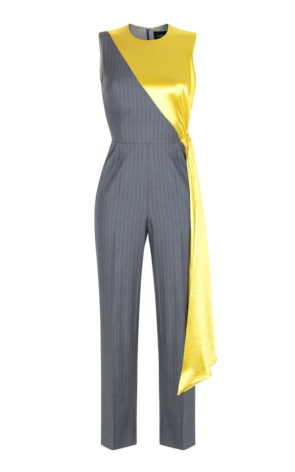 ASYMETRIC DRAPED SATIN AND STRIPED SUITING FABRIC JUMPSUIT