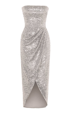 SEQUINED CORSET MIDI DRESS