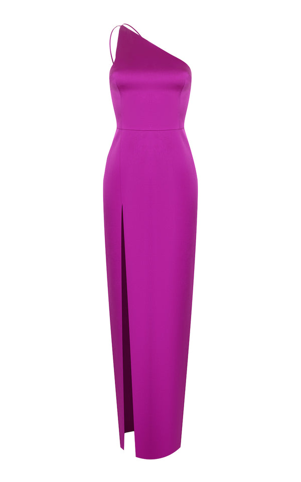 ONE SHOULDER SATIN MAXI-DRESS