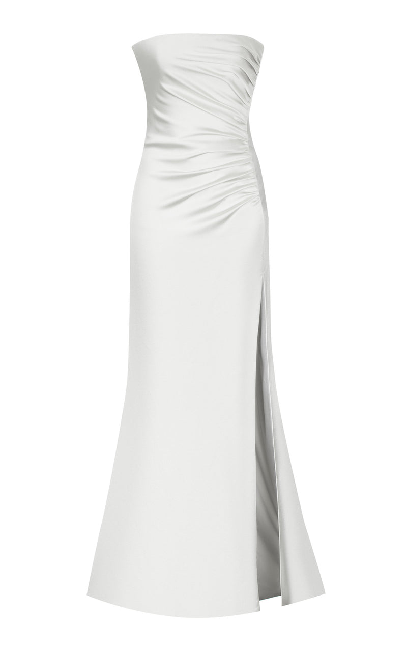 HIGH-SPLIT SIDE SATIN CORSET GOWN