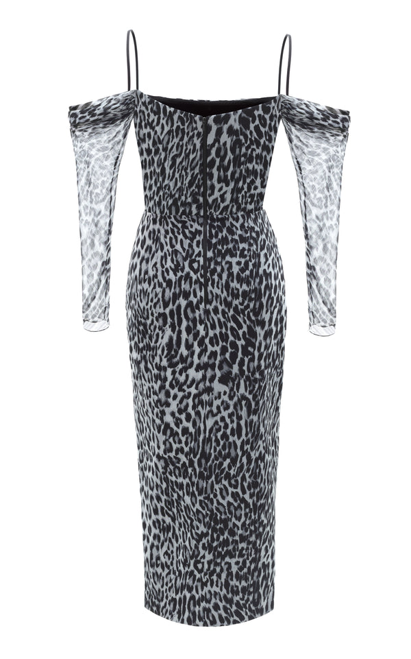 Cold-Shoulder Leopard-Print Chiffon Corset Midi Dress