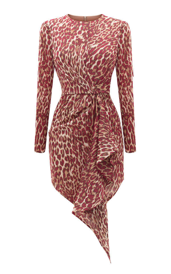 Draped Leopard-Print Chiffon Mini Dress