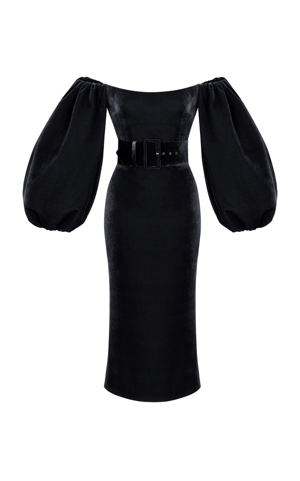 Puff Sleeve Silk Velvet Corset Midi Dress