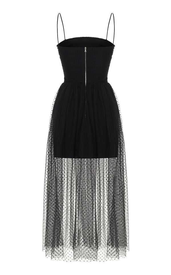 DRAPED POLKA DOT TULLE MIDI-DRESS