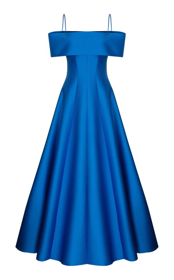 Satin gown with voluminous skirt