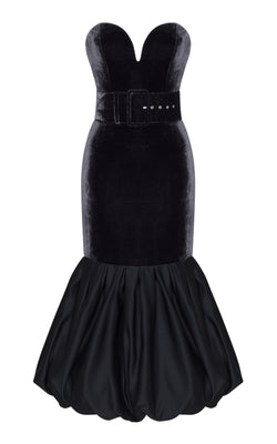 Silk Velvet Corset Midi Dress with Satin Balloon