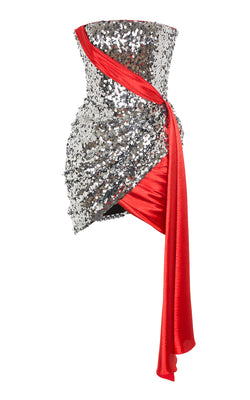 DRAPED SATIN AND SEQUIN MINI-DRESS
