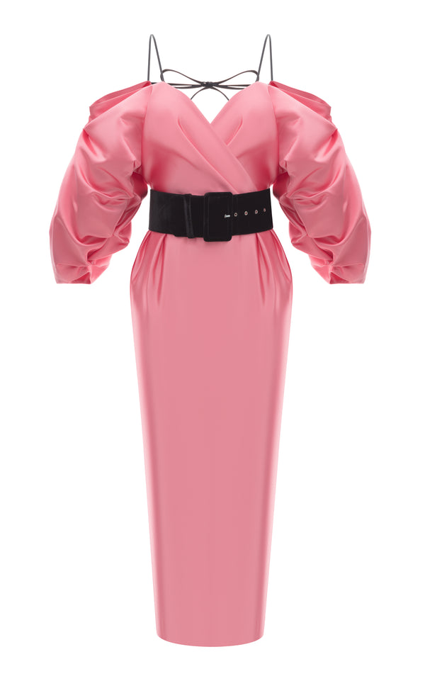 Satin Midi Dress with Voluminous Top