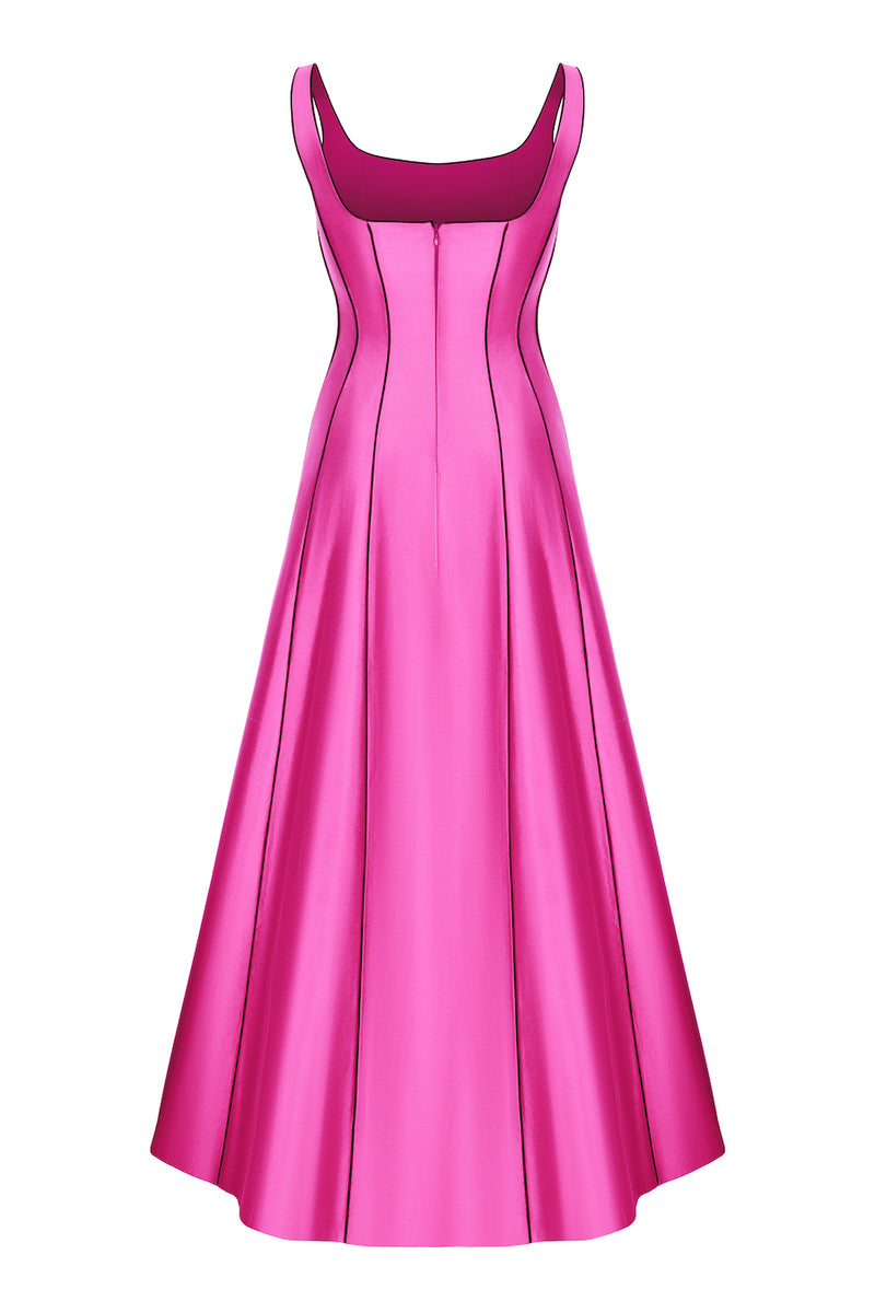 SILK MAXI DRESS WITH PIPING