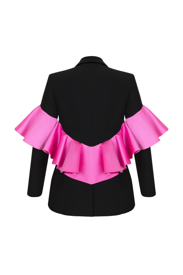 CREPE AND SATIN BLAZER WITH SILK RUFFLES