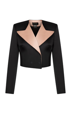 Satin cropped blazer