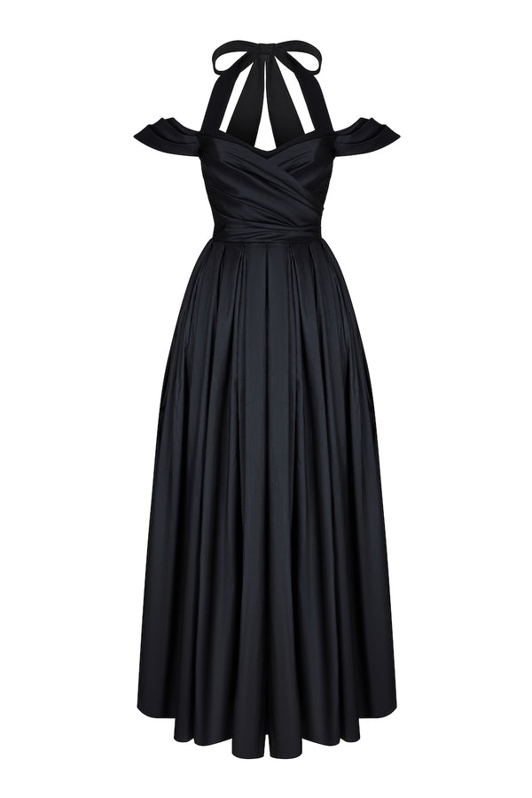 SILK AND CREPE GOWN WITH VOLUMINOUS SKIRT