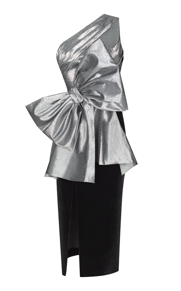 Metallic and silk velvet bow-embellished draped midi dress