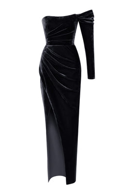 Cold-Shoulder Draped Silk Velvet Corset Gown
